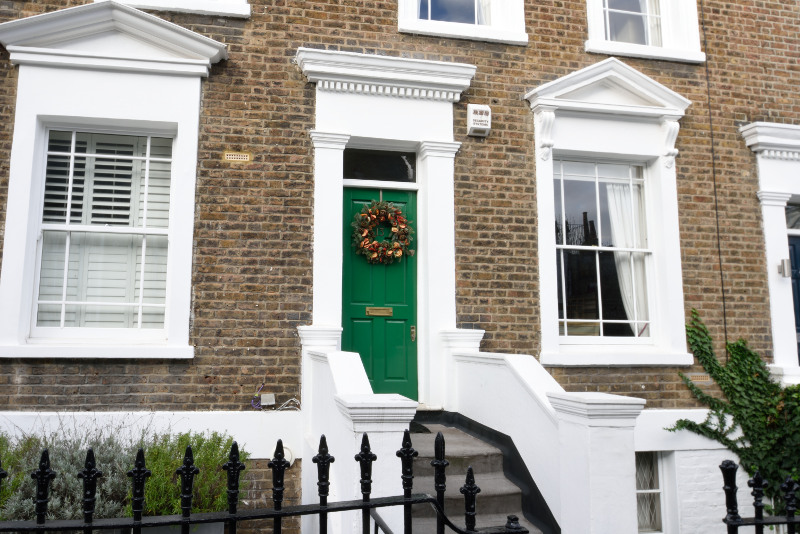 Green Timber Front Door of Notting Hill timber entry door