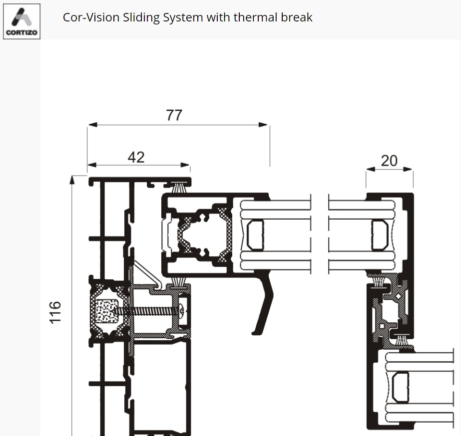Cor Vision Cortizo Sliding System Cross section
