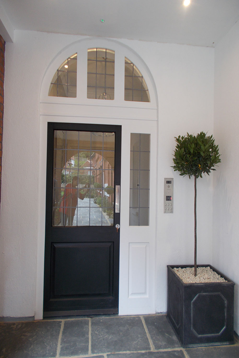 Black Double Glazed Timber Front Door