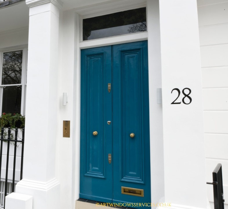 Marine Blue Timber Front Doors